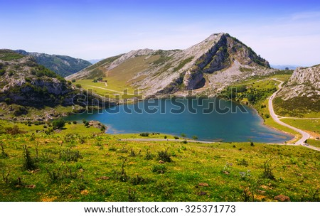 View of Enol lake  in summer. Asturias, Spain