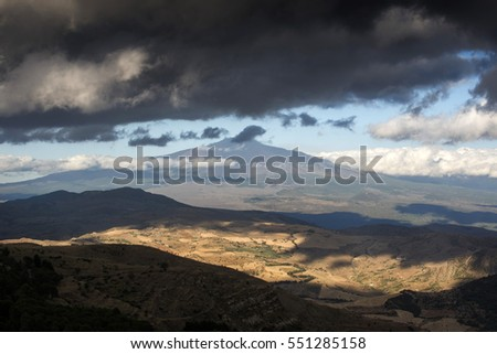 view of Etna Valley from Troina, Sicily, Italy, Mediterranean
