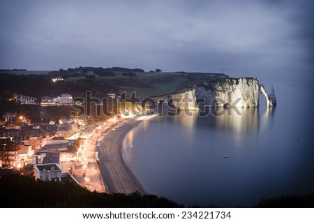 View of Etretat Aval cliff, Normandy, France, Europe. - stock photo