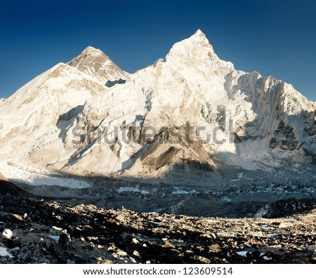 view of Everest and Nuptse from Kala Patthar - stock photo