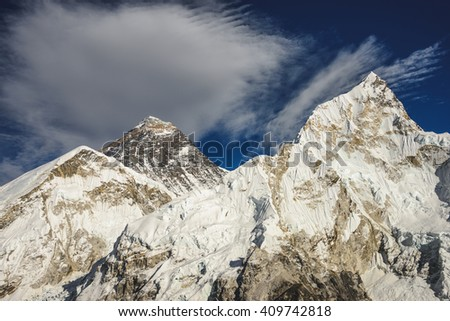 View of Everest and Nuptse from Kalar Patthar Mountain near Mt Everest Base Camp