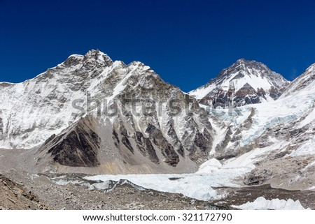 View of Everest base camp in Nepal