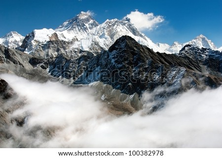 view of everest from gokyo ri - stock photo