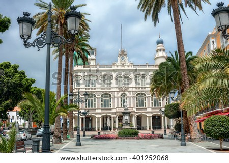 View of facade Gabinete Literario. Las Palmas, Gran Canaria, Spain  - stock photo