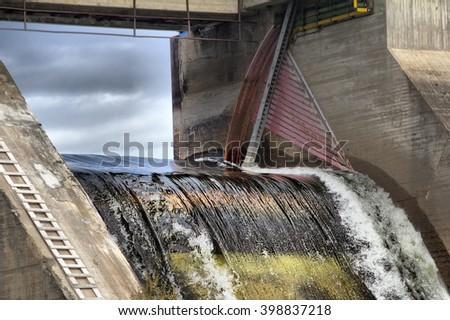 View of falling water for hydroelectric power station. Noise of falling water - stock photo