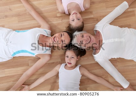 View of family in fitness outfit