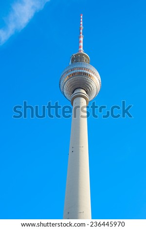 View of famous Berlin Television Tower at sunset - stock photo