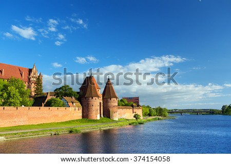 view of  famous castle Malbork, Poland at the evening time - stock photo