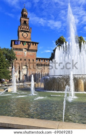 View of famous fountain and Castle tower on the Castle square. Milan, Italy - stock photo