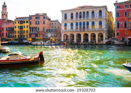 View of famous Grand Canal, Venice - stock photo