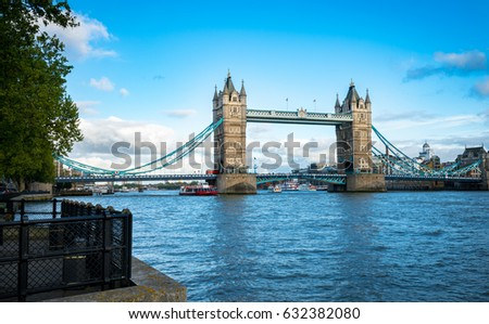 view of famous Tower Bridge over the River Thames, London, UK