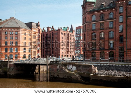 View of famous warehouse district Speicherstadt in Hamburg, Germany