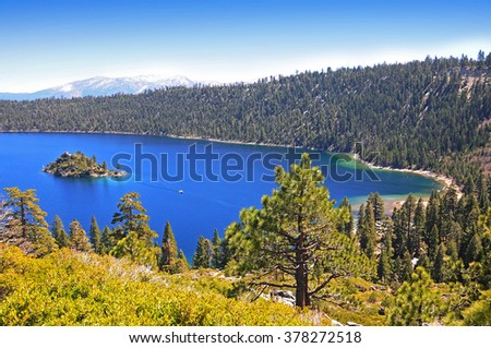 View of Fannette Island from Vikingsholm, Lake Tahoe, California, USA - stock photo