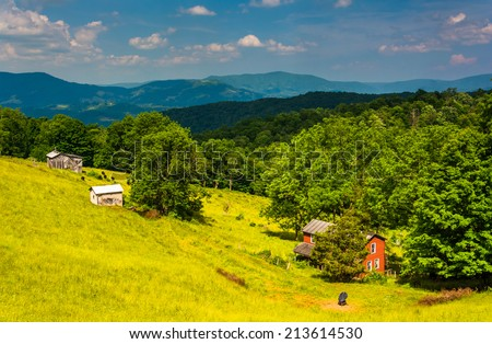 View of farm and mountains in the rural Potomac Highlands of West Virginia. - stock photo