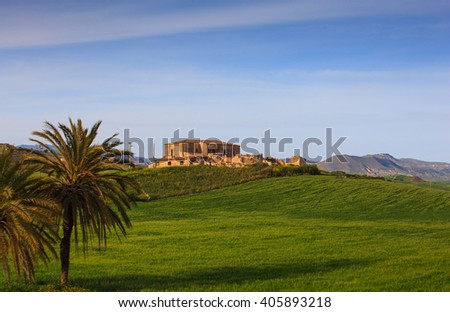 View of farmhouse in the Sicily countryside