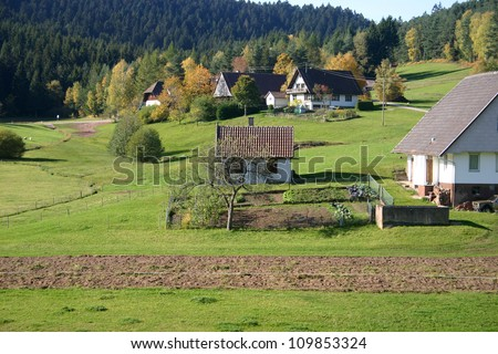 View of farming land in the black forest, germany