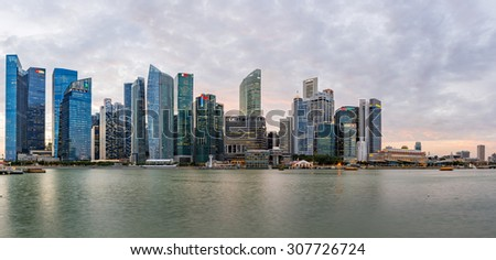 view of Financial Building in Marina Bay with twilight sky , Singapore 29 Jan ,2015