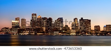 View of Financial District and Harbor at sunset in Boston, Massachusetts, USA