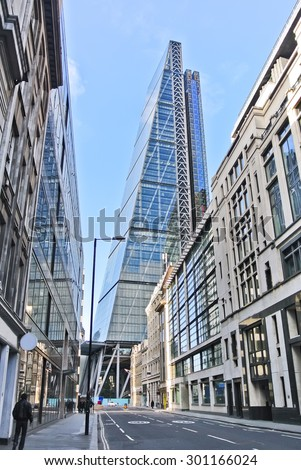 View of financial district in London - stock photo