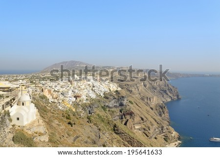 View of Fira and caldera in Santorini island.