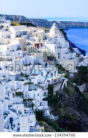 view of Fira town - Santorini (from my greek series)  - stock photo