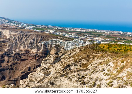 View of Fira town - Santorini island,Crete,Greece. Beautiful bay with clear blue sky and sea