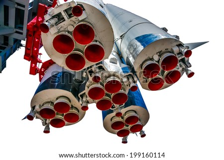 View of first stages and propulsion nozzles of Yury Gagarin's spacecraft Vostok-1 (East-1). Isolated against white background - stock photo