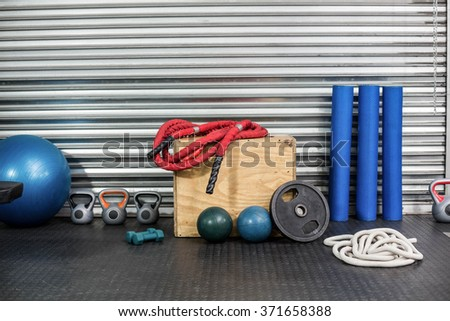 View of fitness equipment at crossfit gym - stock photo