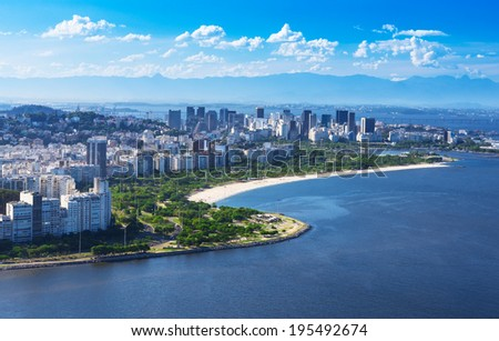 view of Flamengo beach and district and Centro in Rio de Janeiro.Brazil - stock photo