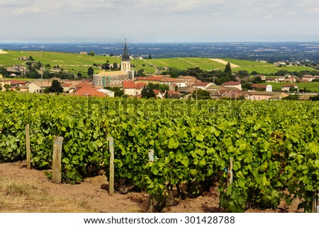 View of Fleurie village and vineyards, Beaujolais, France - stock photo