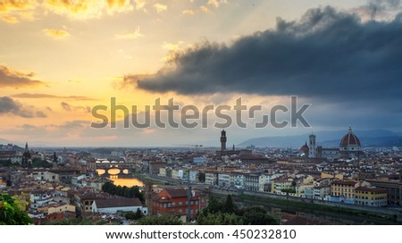 View of Florence after sunset from Piazzale Michelangelo, Florence, Italy - stock photo