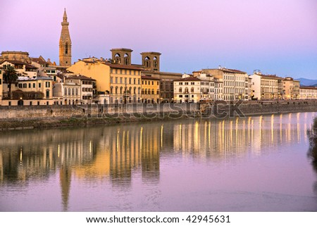 View of Florence and the arno river. Tuscany, Italy. - stock photo