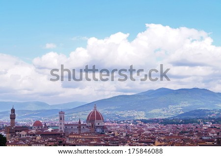 View of Florence from the surrounding hills, Italy - stock photo