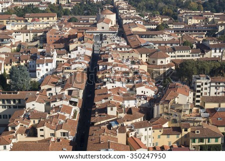 View of Florence rooftops, Tuscany, Italy - stock photo