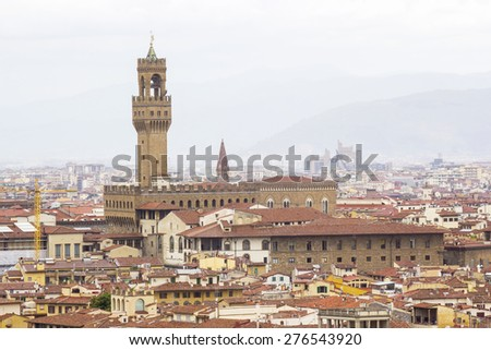 View of Florence with the Bargello, also known as the Palazzo del Bargello, Museo Nazionale del Bargello or Palazzo del Popolo, Tuscany, Italy - stock photo
