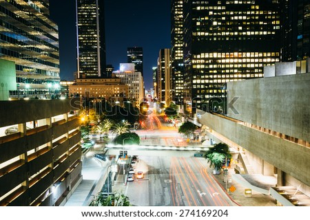 View of Flower Street at night, in downtown Los Angeles, California.
