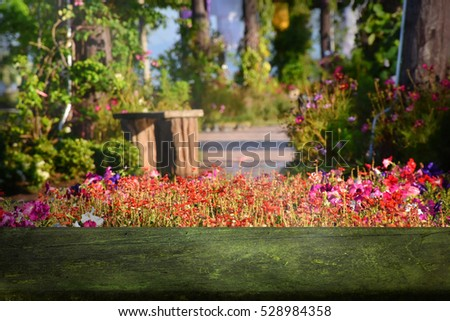 View of flowers garden for relaxation with beautiful nature.