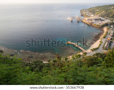 View of Flying Fish Cove, Christmas Island, Indian Ocean Territory of Australia - stock photo