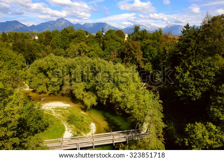 view of forest and mountain landscape near Kranj, Slovenia - stock photo