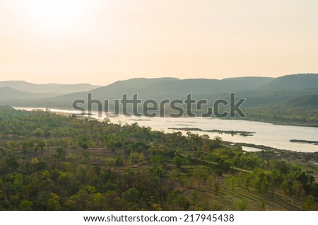 View of forest and river in morning at ubon ratchathani thailand - stock photo