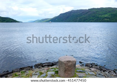 View of Fort Augustus over famous Loch Ness in Scotland - stock photo