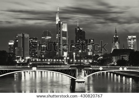 View of Frankfurt am Main skyline at sunset in Germany - black and white photo