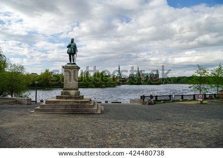 View of Frederiksborg Castle from Hillerod town, Denmark - stock photo