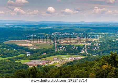 View of Front Royal, Virginia from Skyline Drive in Shenandoah National Park, Virginia. - stock photo
