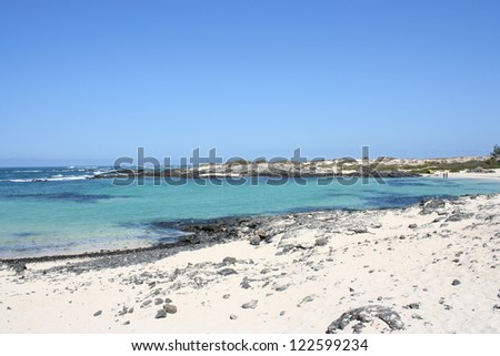 View of Fuerteventura Volcanic Beach ( Canary Islands, Spain ) - stock photo