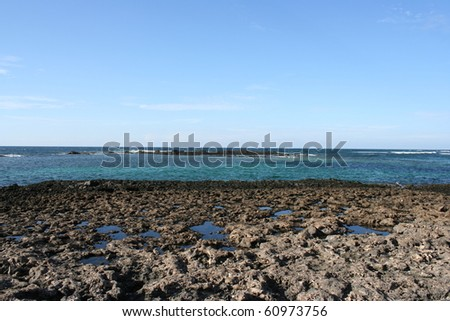 View of Fuerteventura Volcanic Coast ( Canary Islands, Spain ) - stock photo