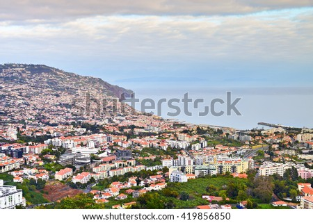 View of Funchal in the spring, Madeira, Portugal - stock photo