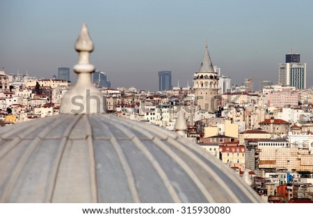 View of Galata Tower from Suleymaniye Mosque in Istanbul, Turkey - stock photo