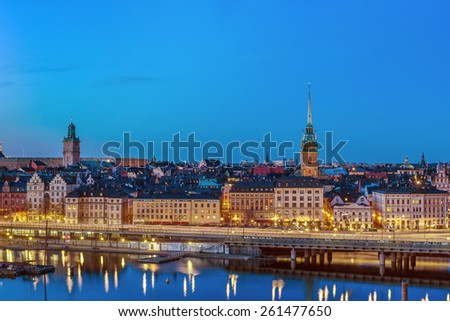 view of Gamla Stan from the Sodermalm island in Stockholm, Sweden - stock photo