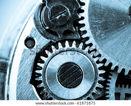 view of gears from old mechanism - stock photo